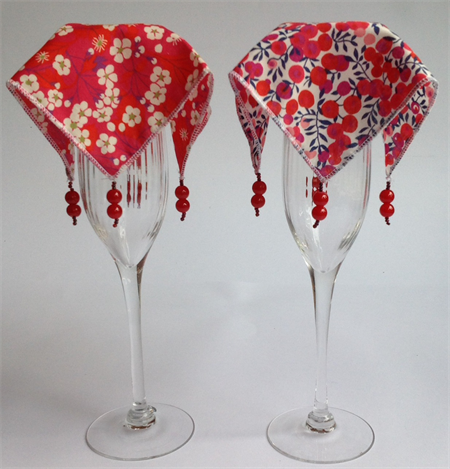Set of 4 Liberty of London Print Wine glass covers/veils – shades of red